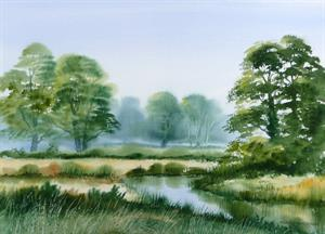 Buy Misty Morning 13.5 x 19 inches Watercolour on Watercolour Paper Online