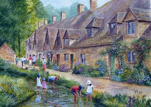 Buy 'Arlington Row' Bibury Cotswolds 21 X 29 inches Watercolour on Watercolour Board Online