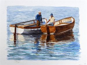 Buy Two Men in a Boat  5 x 7 inches watercolour on watercolour paper Online
