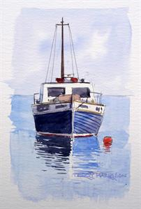 Buy Bobbing Boat 4 x 6.5 inches Watercolour on Paper Online