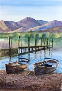 Buy Lakeside Boats 13.5 x 19.5 inches Watercolour on watercolour paper Online