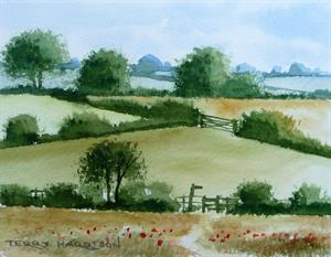 Buy View Over the Fields 5.5 x 4 inches Watercolour on Paper Online