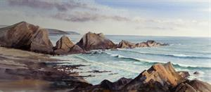 Buy Rocky Headland - Watercolour 13 x 28.5 inches Online