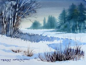 Buy Frozen Lake 6.5 x 9 inches Watercolour on Watercolour Paper Online