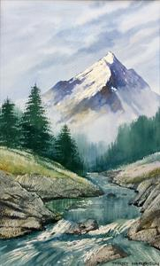 Buy Snow Capped Mountain 11.5 x 18.5 inches watercolour on watercolour paper Online