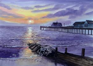 Buy Sunset Pier 13.5 x 19.5 inches watercolour on watercolour paper Online