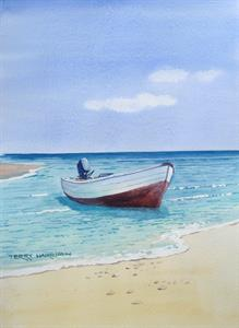 Buy Alone in the Bay 12 x 17 inches watercolour Online