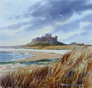 Buy Bamburgh Castel 11 x 12 inches watercolour on watercolour paper Online