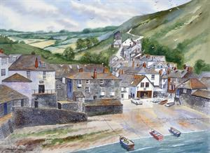 Buy Port Isaac 21 x 19 inches watercolour on Watercolour Board Online