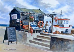 Buy The Fish Shack 12.5 x 18.5 inches Watercolour on watercolour paper Online