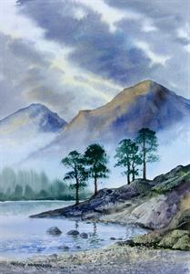 Buy Misty Lakeside 13 x 18 inches Watercolour on watercolour paper Online