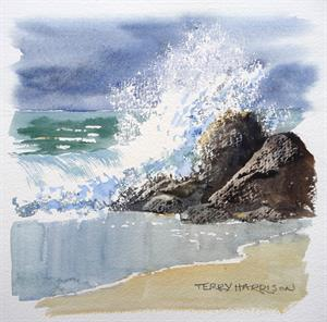 More information on Crashing Wave study 8 x 8 inches watercolour