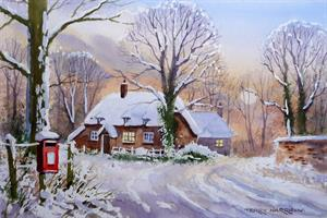 Buy Postbox Cottage in Snow 9.5 x 14.25 inches Watercolour on Paper Online