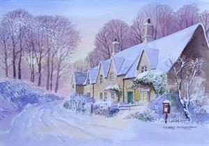 Buy Christmas Cottage 12.5 x 18.5 inches Watercolour on Paper Online