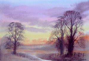 Buy Misty Evening  8 x 11.5 inches watercolour on watercolour paper Online
