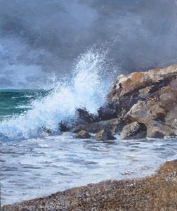 Buy Crashing Wave 10 x 12 inches Acrylic on linen board Online
