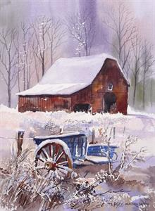 More information on Barn and Wagon in Snow 12 x 16 inches Watercolour on paper