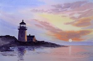 Buy Lighthouse in the Evening 13.5 x 19.5 inches Watercolour on watercolour Paper Online