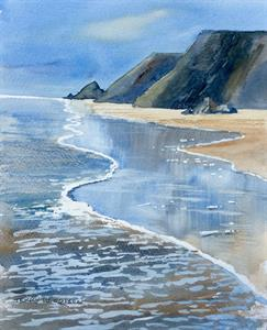 More information on Surf Beach 9.5 x 12 inches Watercolour on Watercolour Paper