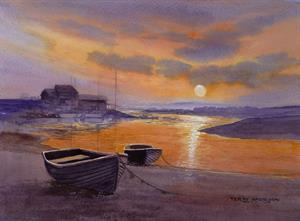 Buy Estuary Sunset 13.5 x 19 inches watercolour on watercolour paper Online