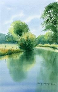 Buy Riverbank View 8 x 12 inches Watercolour on watercolour paper Online