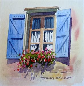 Buy Shutters 6 x 6 inches Watercolour on Watercolour Paper Online
