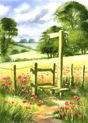 Painting of poppy field